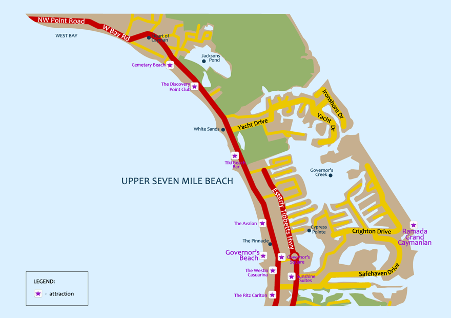 Upper Seven Mile Beach Map
